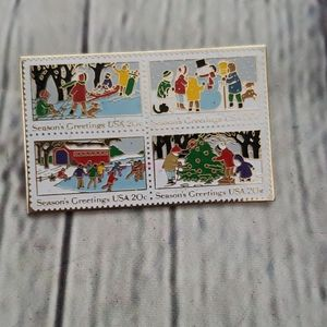 Vintage 1982 The March Co Christmas Stamp pin